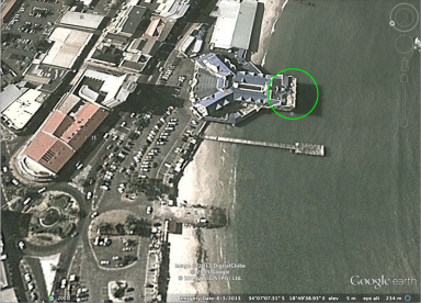 The surfside in Google Earth. It is quite a long walk from the carpark through the building to the restaurant